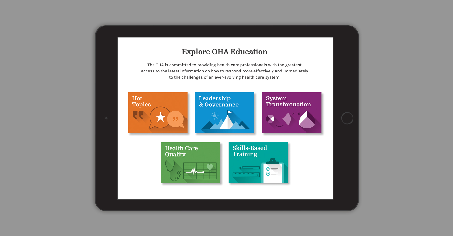 OHA Education details, ipad view